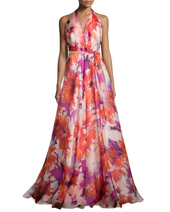 Silk Floral-Print Halter Gown, Tomato