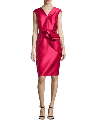 Ruffled-Waist Cap-Sleeve Cocktail Dress, Lipstick