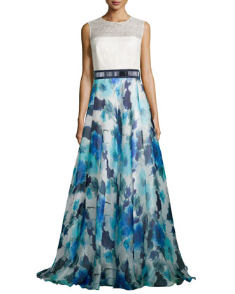 Sleeveless Combo Dress w/ Floral Skirt, Ivory/Ocean