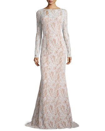 Long-Sleeve Bateau-Neck Lace Gown, Ivory/Nude