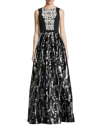 Floral-Print Sleeveless Gown, Black/White
