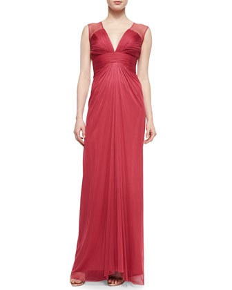 Gathered Keyhole-Back Tulle Gown, Coral