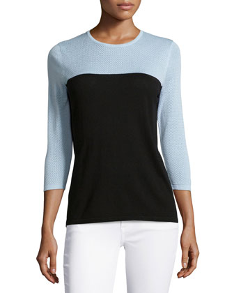 Pique-Sleeve Two-Tone Top