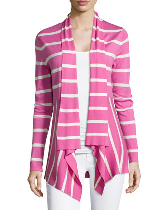 Striped Cashmere Waterfall Cardigan