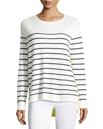 Striped Cashmere Bi-Level Top