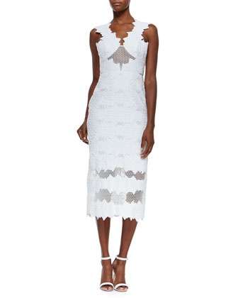 Buronout Brocade Midi Mesh Dress