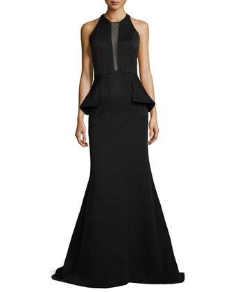 Sheer-Inset Peplum Mermaid Gown