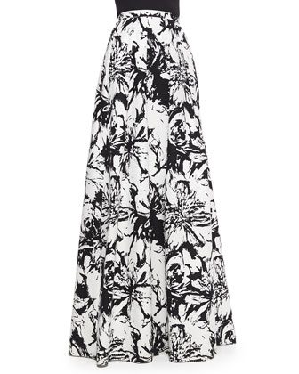 Beaded Halter Crop Top & Floral-Print Pleated Ball Skirt
