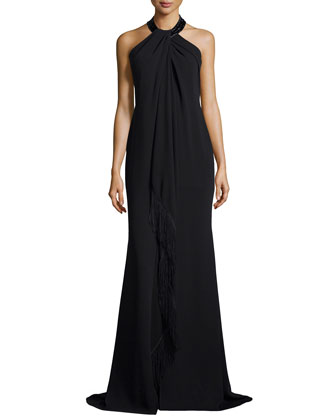 Sleeveless Halter Beaded Toga Gown W/ Fringe