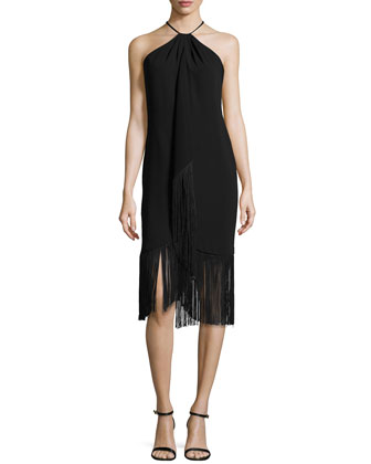 Sleeveless Halter Toga Cocktail Dress W/ Fringe