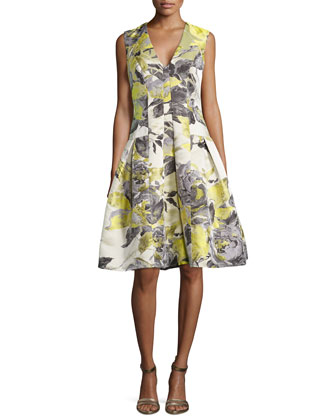 Floral-Print Sleeveless Party Dress, Citrus