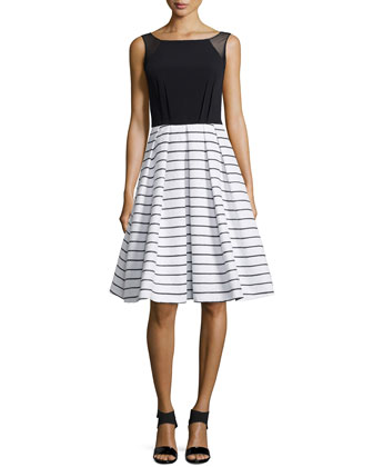 Sleeveless Combo Dress, Black/White
