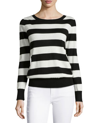 Striped Cashmere V-Back Top