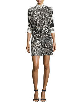 Animal Print Dress with Contrast Trim