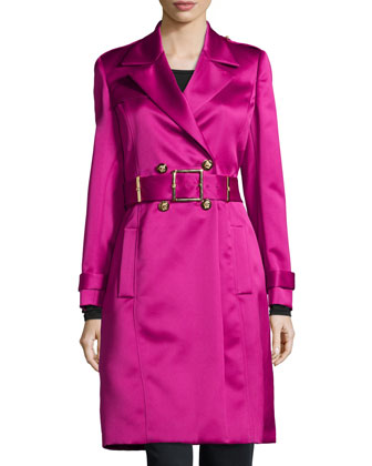 Charmeuse Double-Breasted Trench Coat