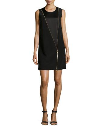 Sleeveless Charmeuse Shift Dress W/ Zipper Detail