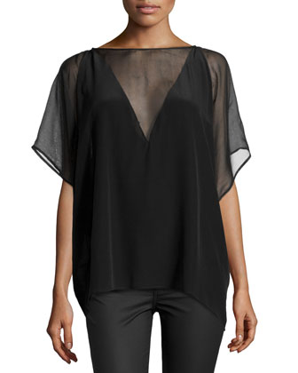 Silk Chiffon Short-Sleeve Top
