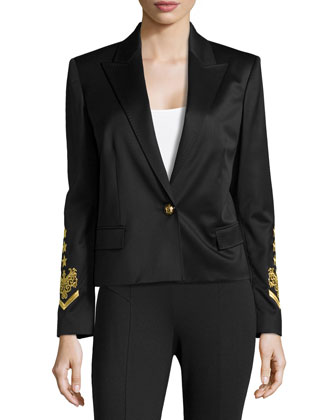 Embroidered-Sleeve Peaked-Lapel Blazer, Nero
