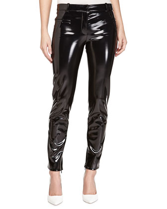 Faux-Leather Pants with Ankle Zip