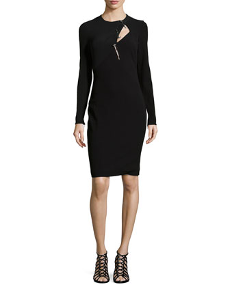 Long-Sleeve Wool-Blend Sheath