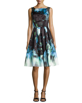 Sleeveless Floral-Print Pleated Dress