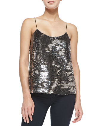 Alodie Sequined-Front Cami