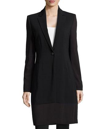 Single-Button Long Slim Blazer