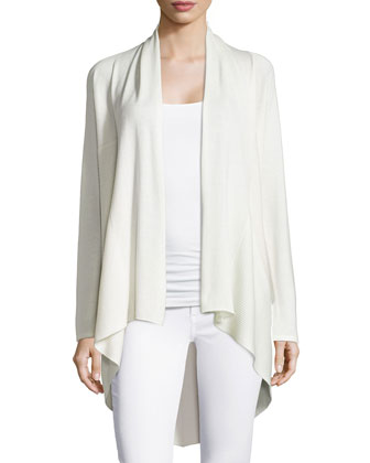 Cashmere Ribbed Open Draped Cardigan