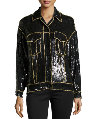 Sequined & Beaded Wool-Blend Jacket