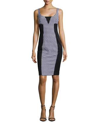 Sleeveless Gingham & Solid Colorblock Dress