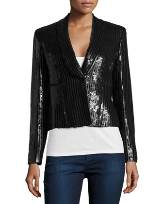 Sequin Blazer, Nero
