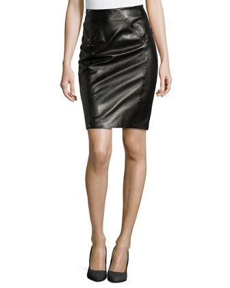 Leather Pencil Skirt with Studded Accents