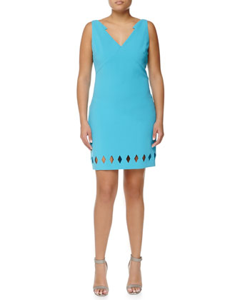 Diamond Laser-Cut Sleeveless Dress, Turchese