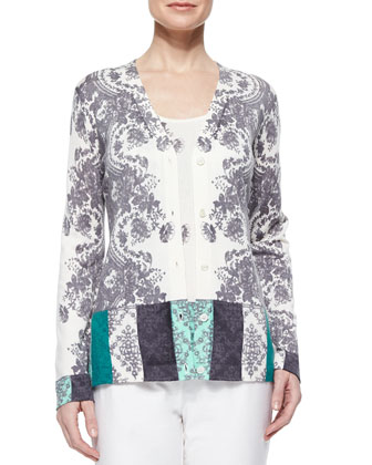 Colorblock Lace V-Neck Cardigan
