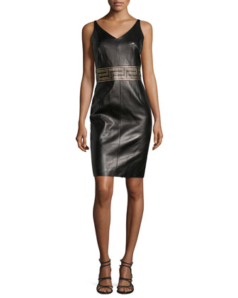 Sleeveless V-Neck Leather Dress
