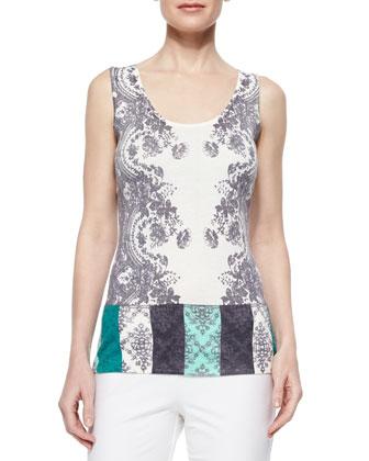 Colorblock Lace V-Neck Cardigan & Lace Colorblock Cashmere Tank