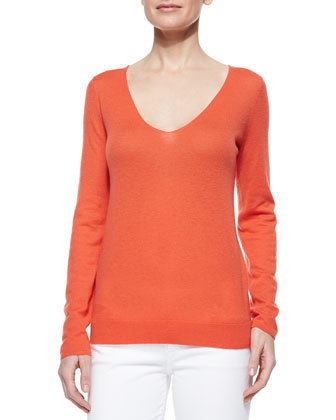 Cashmere V-Neck Long-Sleeve Top