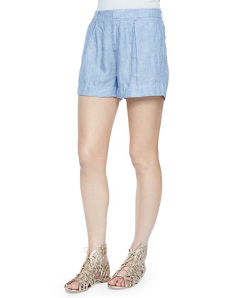 Barbella Pleated Linen Shorts, Sunset Blue