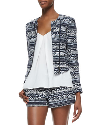 Darnel Striped Woven Tweed Jacket, Nahlah Pleated Silk Sleeveless Top & ...