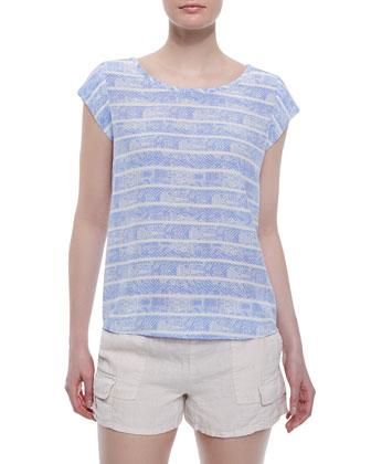 Talaia Printed Cap-Sleeve Blouse