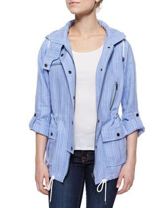 Barker Striped Hooded Drawstring Jacket