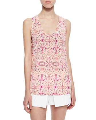 Alena Printed Silk Tank Top