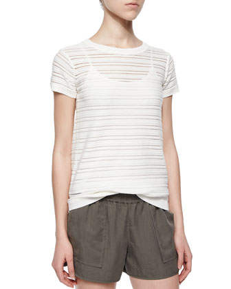 Ewan Short-Sleeve Illusion-Stripe Top, Coraline Slub-Knit Camisole & Beso ...