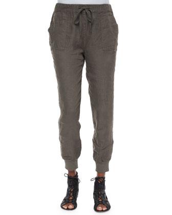 Eniko Embroidered Voile Tassel Top & Stuva Drawstring Linen Pants