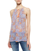Shara Mixed-Print Tank Top