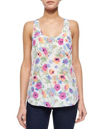 Rain Floral-Print Silk Top