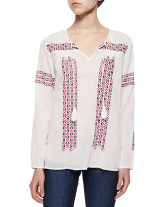Nira Embroidered Voile Tassel Blouse