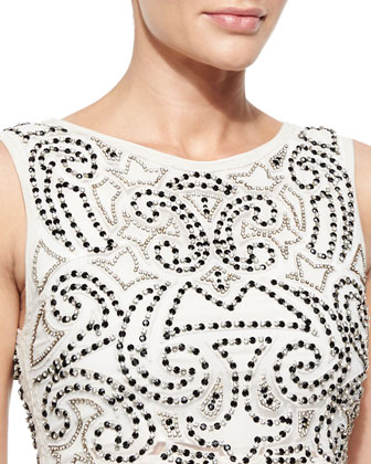 Ezra Sleeveless Sequined Beaded Crop Top