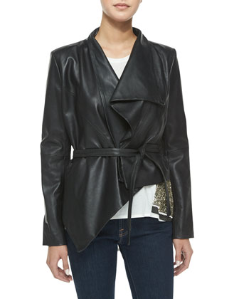Rise & Prosper Asymmetric Faux-Leather Jacket, Black
