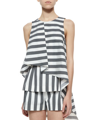 Bloomers Striped Ruffled Asymmetric Top